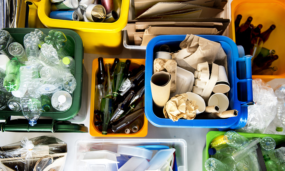 Recyclable materials in separate containers