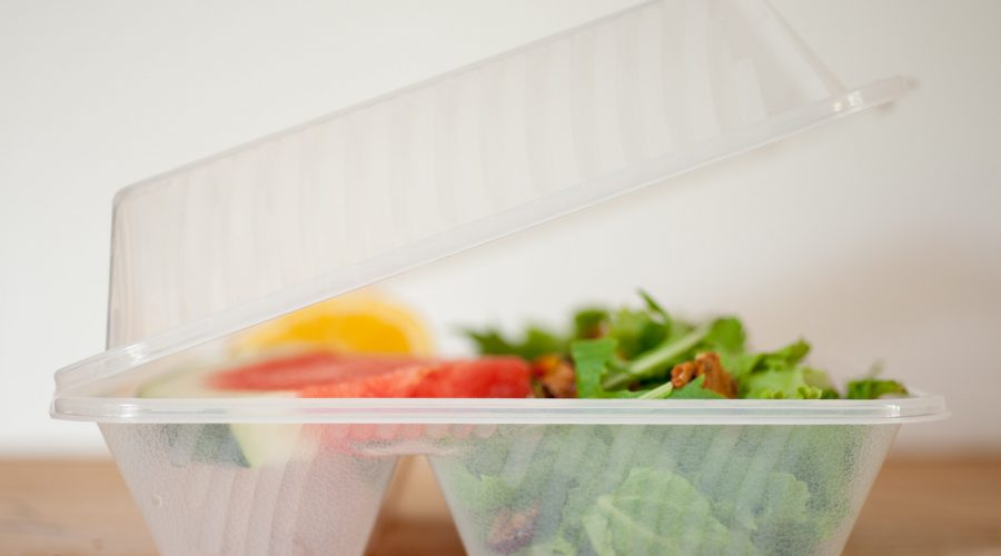 Reusable plastic clamshell-style take-out container
