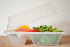 Reusable takeout container with salad inside